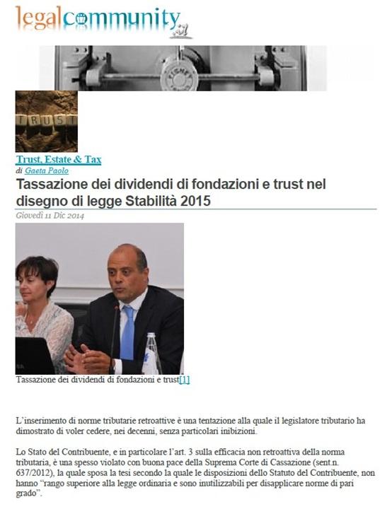 Tassazione dei dividendi di fondazioni e trust nel disegno di legge Stabilità 2015
