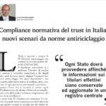 Compliance normativa del trust in Italia: nuovi scenari da norme antiriciclaggio