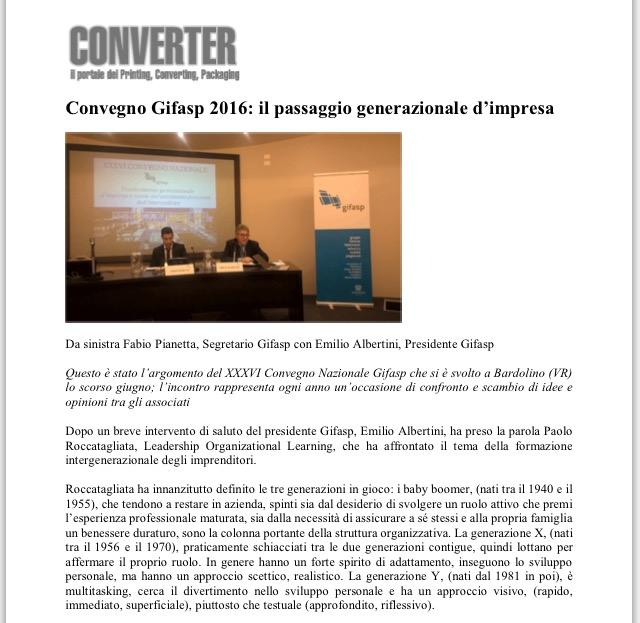 Convegno Gifasp 2016: il passaggio generazionale d'impresa