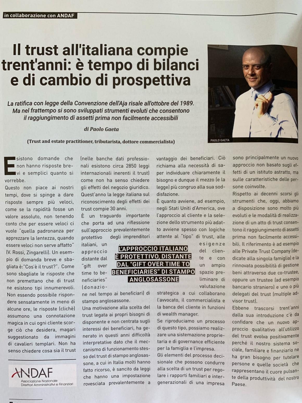 Il trust all'italiana compie trent'anni: è tempo di bilanci e di cambio di prospettiva